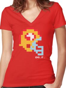 Tecmo Bowl -San Francisco 49ers - 8-bit - Mini Helmet shirt Women's Fitted V-Neck T-Shirt