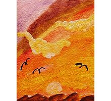 Birds coming in from a possible storm, watercolor Photographic Print