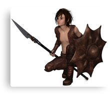 Dragon Warrior Boy - Crouching Canvas Print