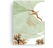 You can do it, Fine Art Collage Illustration, Athlete jumping Canvas Print
