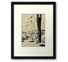 This is what happened at the beach Framed Print