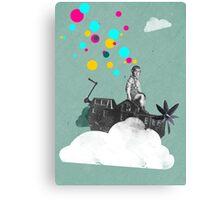 My happy place, Fine Art for Kids, Boy riding on Houseboatpropellerautocar Canvas Print