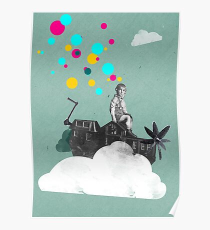 My happy place, Fine Art for Kids, Boy riding on Houseboatpropellerautocar Poster