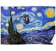 Starry Night Inspiration Doctor Who Tardis Products Poster