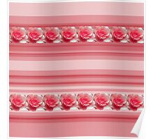 Red Stripes with Roses Poster