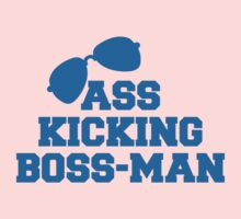 ASS kicking BOSS MAN! with aviator glasses Kids Tee