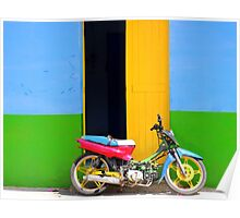 Bike in front of the Primary Colour House Poster