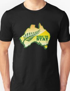 HERE TO STAY kiwi New Zealander in Australia map T-Shirt
