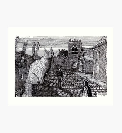 216 - TOBY AND TABATHA IN THE TINY CITY - DAVE EDWARDS - INK - 2008 Art Print