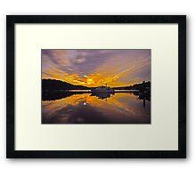 Misty Morning Sunrise Yacht Framed Print