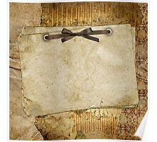 rustic,grunge,vintage,parcel,paper,brown,ribbon,cute,girly,shabby,chic,template Poster