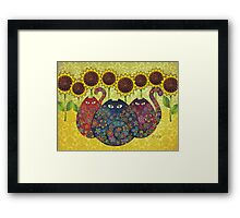 Cats With Sunflowers Framed Print