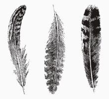 Feather Trio | Black and White Kids Tee