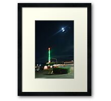 Motel in the moonlight Framed Print