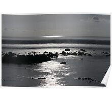 Indian Ocean Shoreline by Moonlight Poster