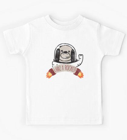 SPACE PUPPY HAZ A ROCKET! Kids Tee