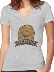 POTATO!!! Women's Fitted V-Neck T-Shirt