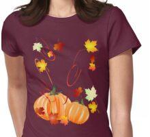 Autumn Leaves-Halloween Pumpkins Womens Fitted T-Shirt