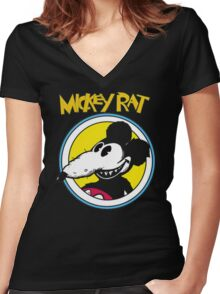 Mickey Rat Funny Parody Retro Women's Fitted V-Neck T-Shirt