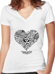 Yoga Heart Namaste Om Women's Fitted V-Neck T-Shirt
