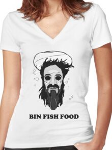 Bin Fish Food Women's Fitted V-Neck T-Shirt