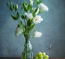 White Lisianthus and Grapes by Colleen Farrell