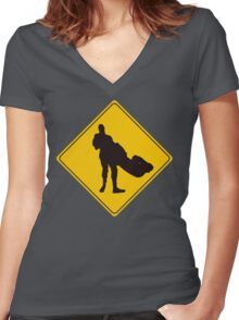 Cesaro Swing Crossing Sign Women's Fitted V-Neck T-Shirt