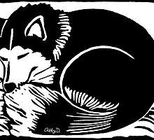 Sleeping Black and White Husky Dog by AbigailDavidson