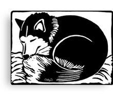 Sleeping Black and White Husky Dog Canvas Print