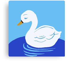 Swan Printmaking Art Canvas Print