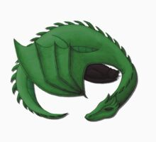 Green Dragon Curled Around Sleeping Cat Kids Clothes