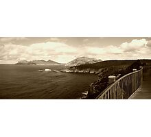 A walk on the edge   Freycinet National Park   Tasmania   panorama   sepia Photographic Print