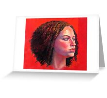 Portrait of Julia on Red Greeting Card