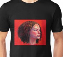 Portrait of Julia on Red Unisex T-Shirt