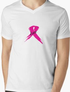Love Pink Ribbon Mens V-Neck T-Shirt