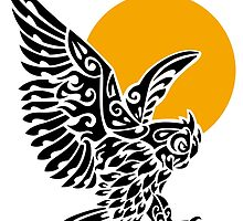 Great horned owl tribal tattoo by lifewithbirds