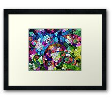 Colorful Abstract Swirls And  Flowers Collage Framed Print