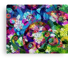 Colorful Abstract Swirls And  Flowers Collage Canvas Print