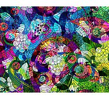 Colorful Abstract Swirls And  Flowers Collage Photographic Print