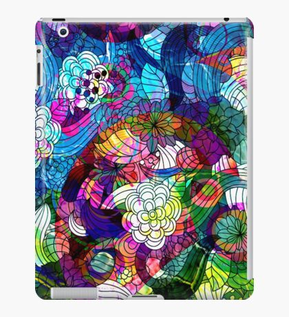 Colorful Abstract Swirls And  Flowers Collage iPad Case/Skin