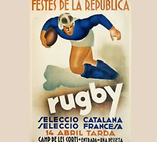 Vintage Art Deco Rugby sport travel poster  Unisex T-Shirt