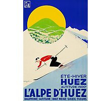 Swiss Alps Vintage Deco Sport ski poster sport travel Photographic Print