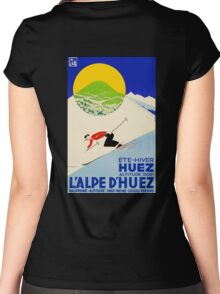 Swiss Alps Vintage Deco Sport ski poster sport travel Women's Fitted Scoop T-Shirt