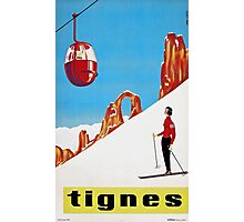 She Skis Alone, Vintage ski sport poster art Photographic Print