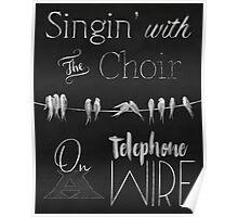 Singing Birds on a Wire chalkboard art Poster