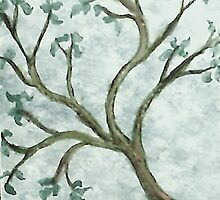 Tree Branch #2, watercolor by Anna  Lewis, blind artist
