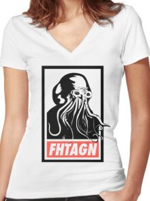 Cthulhu Fhtagn Women's Fitted V-Neck T-Shirt