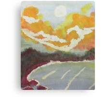 The Cove #2 at sunset, watercolor Canvas Print