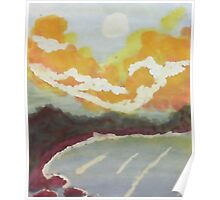 The Cove #2 at sunset, watercolor Poster
