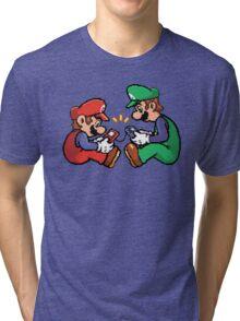 mario and luigi pixel Tri-blend T-Shirt